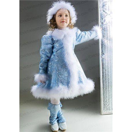 Детский карнавальный и маскарадный костюм Снегурочка из парчи на 3-4 года 2597