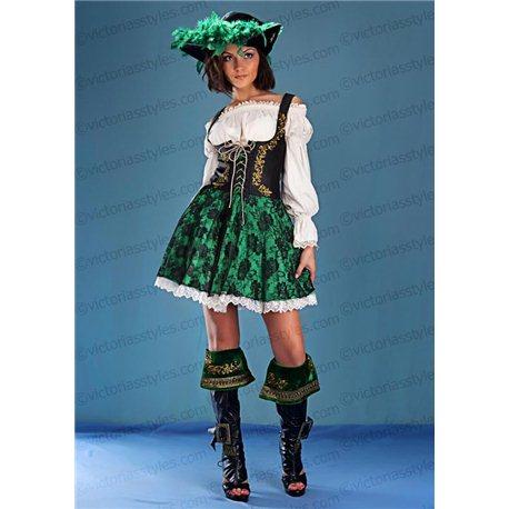 Взрослый Карнавальный Костюм Пиратка зеленая 1398
