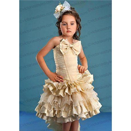 Детское золотое парчевое платье 4431