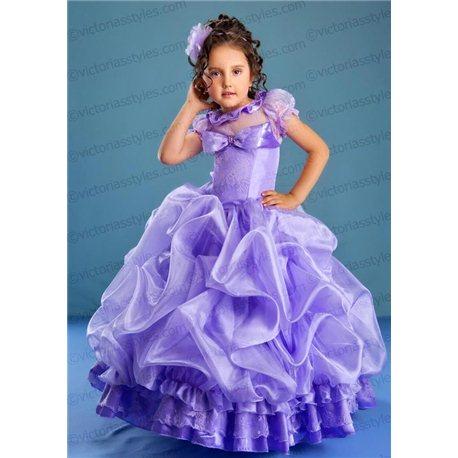 Шикарное пышное сиреневое платье 4501