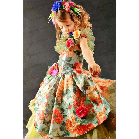 Зеленое платье с рисунком из цветов 3528