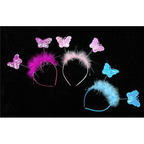 Карнавальное украшение Обруч с антенками бабочками белые (розовые) 0112