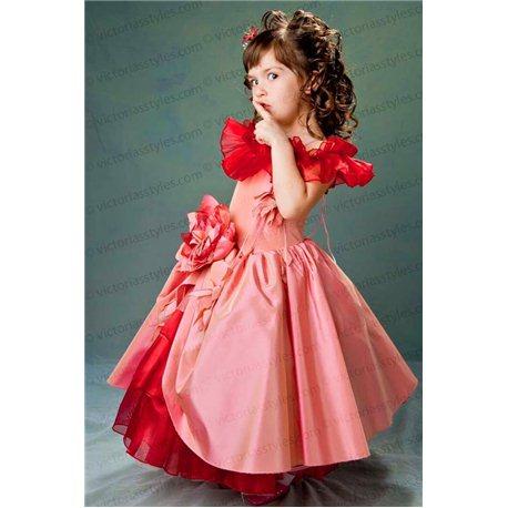 Пышное темно-розовое платье 3646
