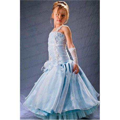Изысканное голубое платье 3713