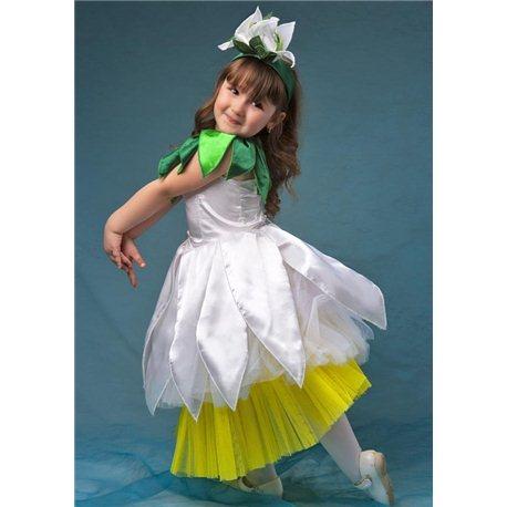 Детский карнавальный и маскарадный костюм Подснежник, Ромашка девочка 4 года 2754, 2752