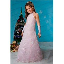 Детское платье Бело-розовая трапеция вышитая бисером 3886