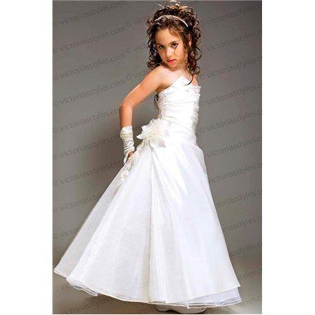 Детское нарядное платье трапеция из тафты цвета топленого молока 2911