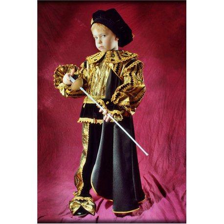 Детский карнавальный костюм Принца черного с золотом 1801, 1822, 0666, 0699, 1800